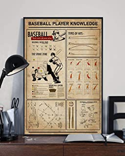 HolyShirts Baseball Player Knowledge Baseball Facial Hair The Strike Zone Types of Hits Baseball Pitching Grips Poster (16 inches x 24 inches)