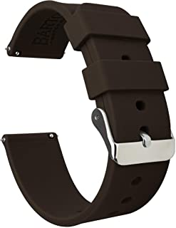BARTON Watch Bands - Soft Silicone Quick Release Straps - Stainless Steel Buckle - Choose Color & Width - 16mm, 18mm, 20mm, 22mm, 24mm - Silky Smooth Rubber Watch Bands