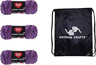 Red Heart Knitting Yarn Super Saver Purple Tone 3-Skein Factory Pack (Same Dyelot) E300-546 Bundle with 1 Artsiga Crafts Project Bag