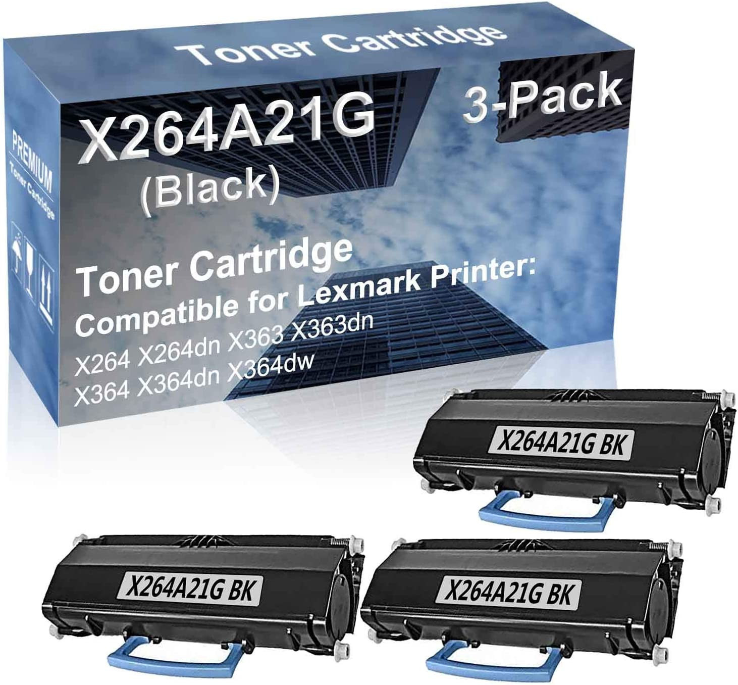 3-Pack Compatible High Yield X364dn X364dw Printer Cartridge Replacement for Lexmark X264A21G Toner Cartridge (Black)