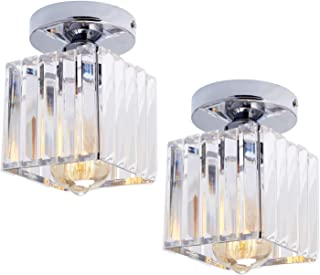 HMVPL Set of 2 Semi Flush Mount Pendant Lighting Fixtures,Modern Sparkly Crystal Close to Ceiling Light Chrome Mini Ceiling Lamp for Kitchen Island Dining Room Bedroom Foyer Hallway