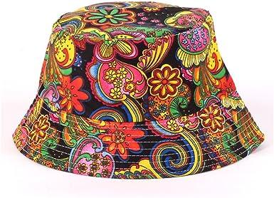 Summer Women Men Fisherman Cap Packable Bucket Hat Eohak Bucket Hat Black Floral Printed