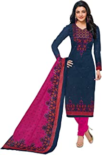 VintFlea Womens's Cotton Printed Unstitched Churidar Suit Dress, Indian Punjabi Style Fashion, Bollywood Design Look, Daily or Party Wear, Blue, Free Size (Free Express Shipping)