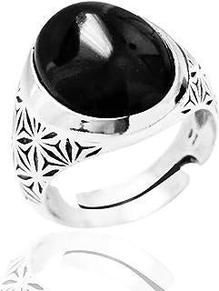 ViMon Gioielli, ANELLO in ARGENTO brunito 925 con PIETRA NERA OVALE liscia, anello GRANDE massiccio,regolabile su misura
