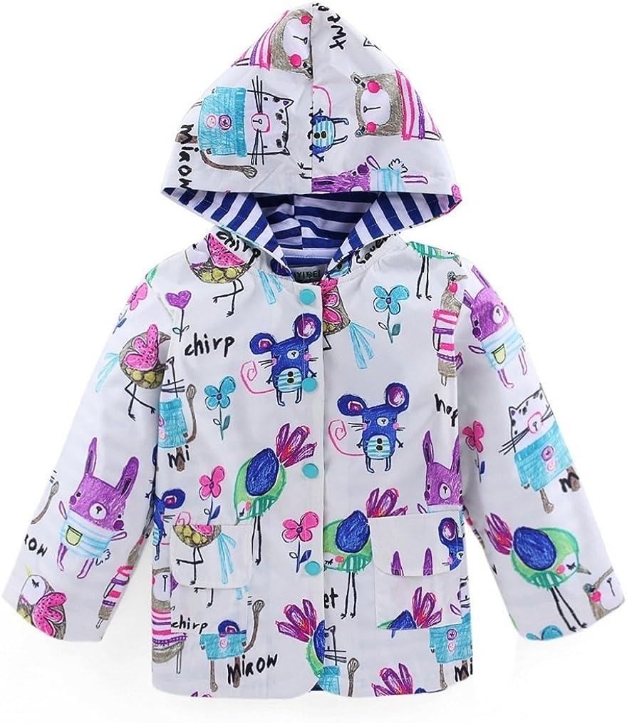 Bakerdani Kids Cute Stripe Cartoon Graffiti Raincoat Waterproof Windproof Coat