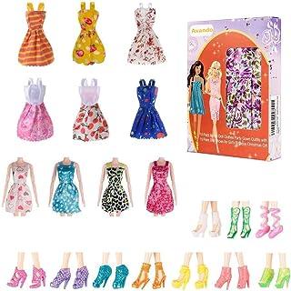 Avando 20PCS Doll Accessories, 10x Mix Cute Dresses 10x Shoes Dresses Gown with Shoes Outfit Set...