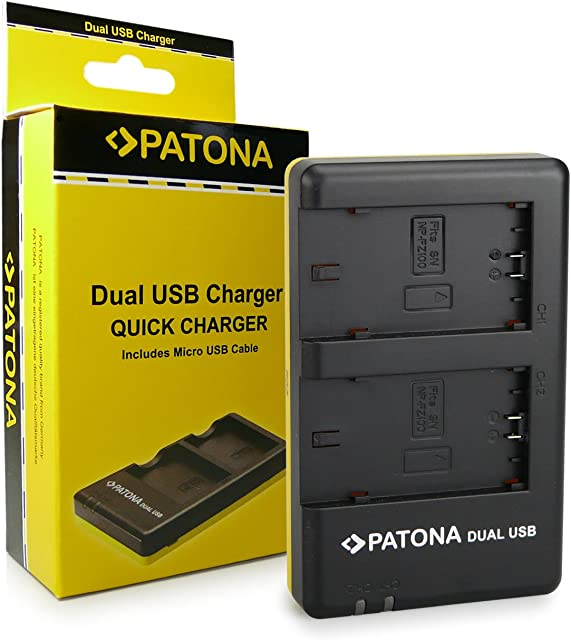 PATONA Cargador Doble para NP-FZ100 Bateria Compatible con Sony Alpha 9 Alpha 7RM3 7M3 A7 R III Sony BC-QZ2