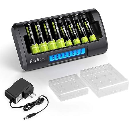Blanco Ranuras AA//AAA LCD Cargador de bater/ía con Cargador USB para bater/ías AA AAA Recargables Ni-MH Ni-CD Palo 4Bay