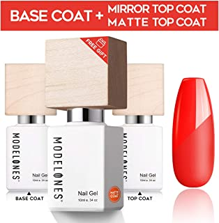 Modelones Upgraded Base Coat No Wipe Glossy Top Coat Set With 1 Free Matte Top Coat(3 X 10 ml) Soak Off LED UV Gel Nail Polish - High Gloss Shiny and Matte Effects In One Set