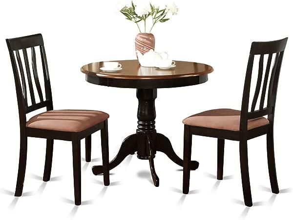 East West Furniture ANTI3 BLK C 3 Piece Kitchen Table Set Black Cherry Finish