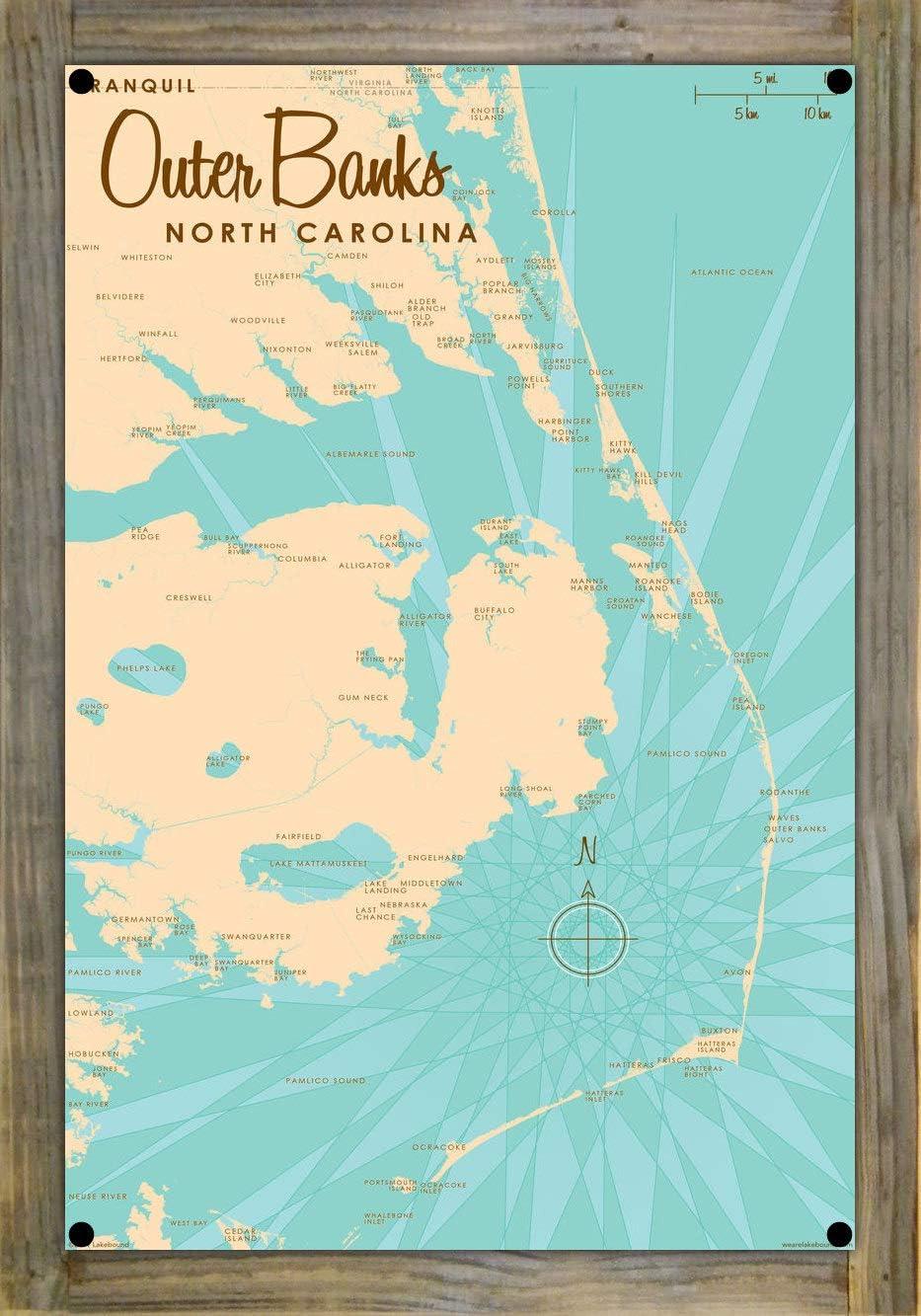 蔵 Outer Banks North Carolina Map Metal on Reclaimed ※アウトレット品 Print Woo Barn