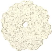 Pack of 8PCS Beige Round 7 inch 100% Handmade Crochet Lace Placemats Coasters Set