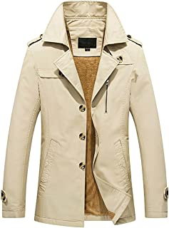 Men's Winter Notched Collar Single Breasted Sherpa Lined Windbreaker Jacket