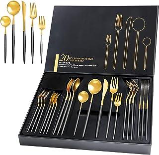 HOBO Lot de 20 couverts de qualité supérieure avec coffret cadeau - Noir et doré - En acier inoxydable - Pour 4 personnes...