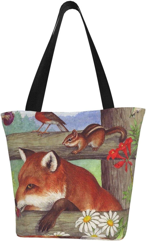 Fox Farm Art Animals Daisy Squirrel Themed Printed Women Canvas Handbag Zipper Shoulder Bag Work Booksbag Tote Purse Leisure Hobo Bag For Shopping
