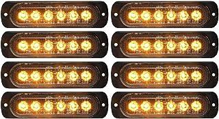 DIBMS LED Strobe Warning Lights, 8x Amber Yellow LED Strobe Warning Emergency Flashing Light Caution Construction Hazard L...