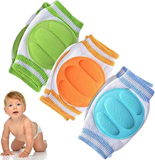 Baby Knee Pads for Crawling (3 Pairs) - Adjustable Breathable Waterproof Safety Protector for Babies, Toddlers, Infants, Boys, Girls, Kids