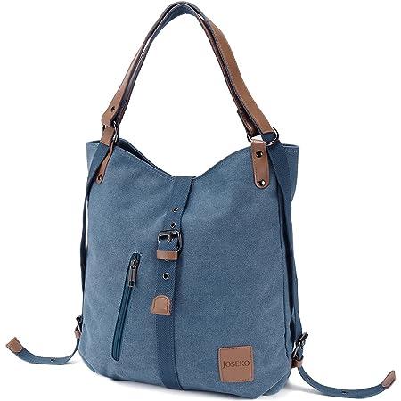 JOSEKO Canvas Tasche Handtasche, Damen Schultertasche Rucksack GroßVintage Umhängentasche Shopper für Alltag Büro Schule Ausflug Einkauf(Blau)