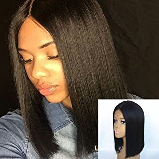 JYL Hair Brazilian Virgin Straight Shoulder Length Short Bob Wigs for Woman Middle Part Remy Human Hair Machine Made with A Little Lace in the Middle Glueless Wig