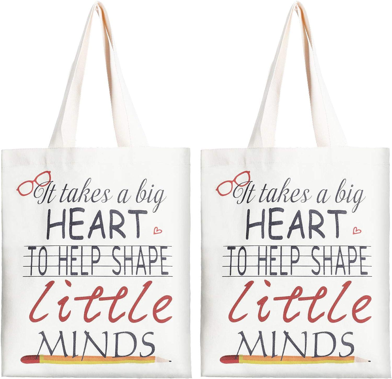 2 Pieces Teacher Las Vegas Mall Canvas Tote Present Appreciation f Bags Excellent