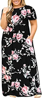 e6ef1db0bcc0 Womens Plus Size Maxi Dresses Short Sleeve Causal Summer Floral Plain Loose  T Shirts Long Dress