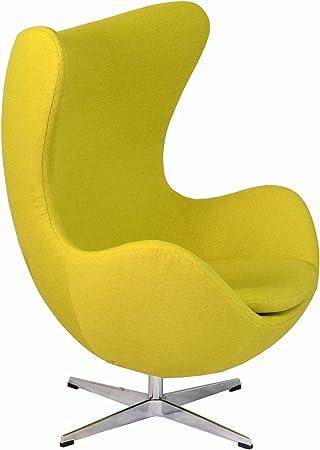 Design Tree Home Arne Jacobsen Inspired Egg Swivel Chair, Yellow