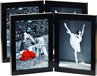 (2-Pack) 5x7 Folding Photo Frames with HIGH Definition Glass - Displays Two 5