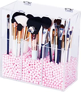 Newslly Clear Acrylic Makeup Organizer with 3 Brush Holder Compartment and Dustproof Lid, Cosmetic Brush Storage Box with Pink Pearls, for Bathroom Bedroom Vanity Countertop…