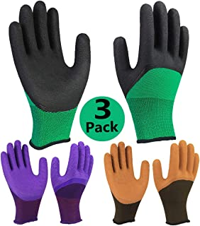 Safety Work Gloves 3 Pack, Grip Coating Nylon Liner Breathable Comfortable for Men and Women Outdoor Gardening Multi-purpose - Colorful