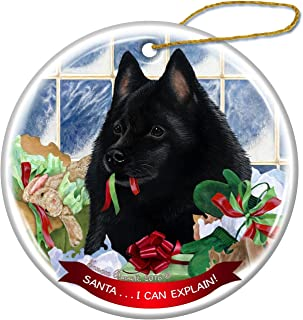 Schipperke Dog Porcelain Hanging Ornament Pet Gift 'Santa.. I Can Explain!' for Christmas Tree and Year Round