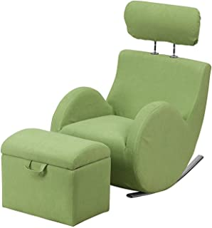 NEW gliding rocking chair Series Green Fabric Rocking Chair with Storage Ottoman