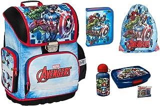 Marvel Avengers Marvel - Mochila escolar para niño, 1 clase 6 piezas, incluye estuche, juego de almuerzo, bolsa de deporte, protección contra la lluvia, tornister superligero, ergonómico y anatómico