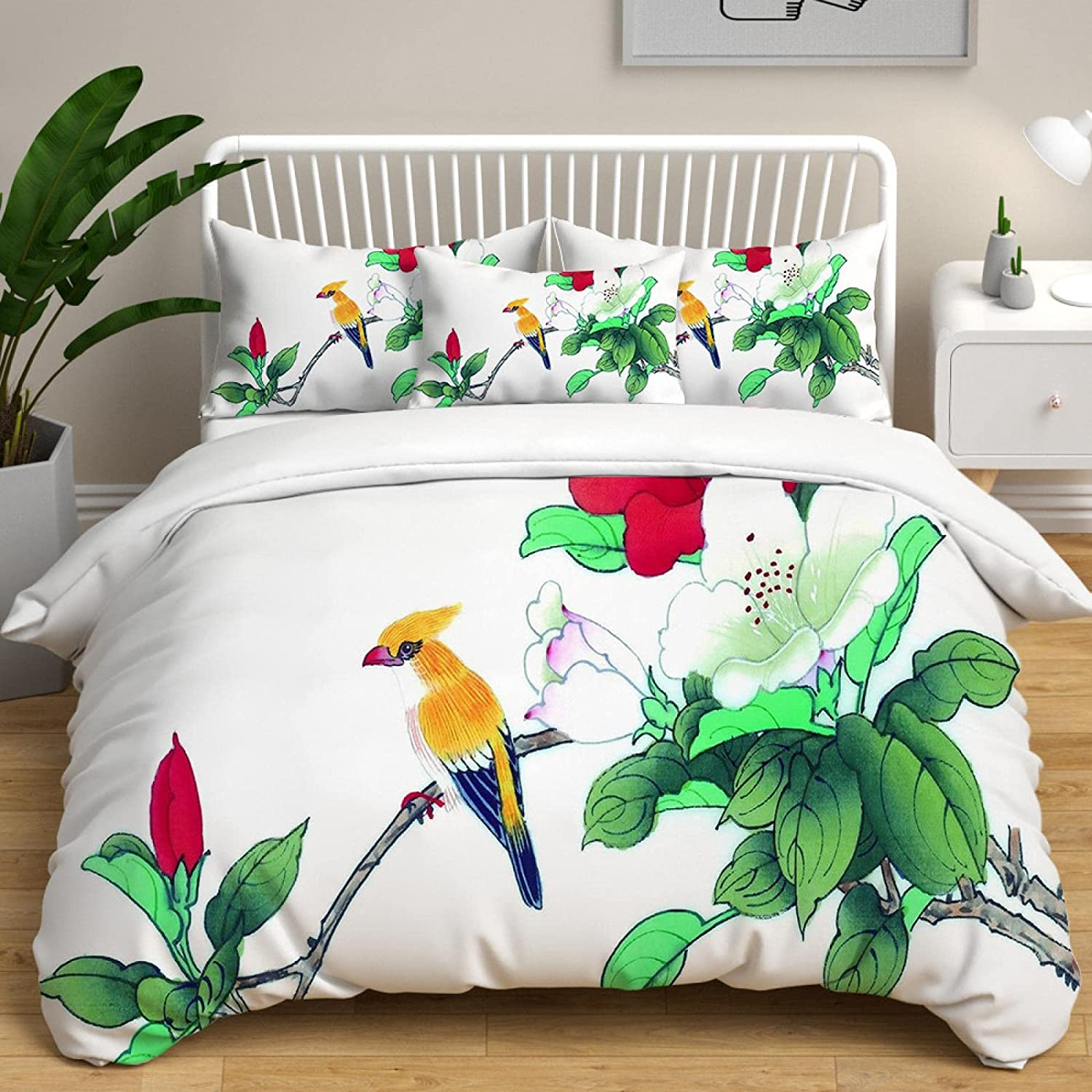 HQHM Duvet trust Cover King 3 Max 86% OFF Pieces Animals Flowers Plants 102X White