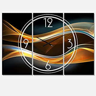Designart 3D Gold Waves in Black Wall Art Design Modern 3 Panel Wall Decorative Clock - Home Decorations for Home, Living Room,Bedroom, Office Decoration Multi Panel Metal Wall Clock