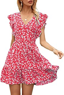 Women's Floral Print Short Ruffle Dress Beach Skirt Slim Short Sleeve Short Dress with V Neck Sexy for Daily Life Party Fo...