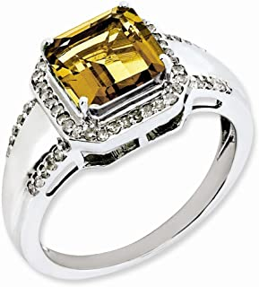 925 Sterling Silver Square Diamond Whiskey Quartz Band Ring Size 7.00 Gemstone Fine Jewelry Gifts For Women For Her