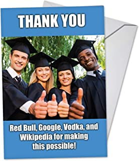 Thankful Grads - Hysterical Happy Graduation Card with Envelope (4.63 x 6.75 inch) - Funny Thumbs Up for College Graduates - Congrats Greeting Note Card Stationery for Graduations C3448GDG