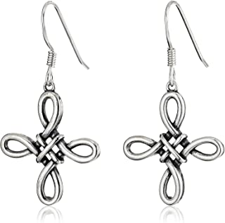 Plated 925 Sterling Silver Celtic Knot Cross Drop Earrings