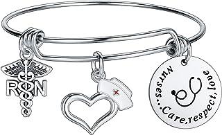 Nurse Bracelet Nurse Appreciation Gifts Charm Bangles Nursing Jewelry Inspirational Bracelet Christmas Birthday Graduation...