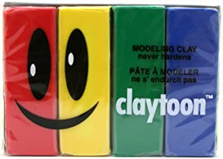 Claytoon 228051 Oil Based Modeling Clay Set, 4 Assorted Colors