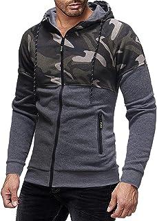 Sudadera con capucha para hombre, con cremallera, manga larga, estilo deportivo, fitness, básico, ajustada, para correr