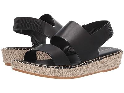 Cole Haan Cloudfeel Espadrille Sandal (Black Leather/Natural Jute/Gum) Women