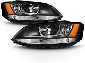 For Black Bezel 11-18 VW Jetta Headlights Front Lamps Direct Replacement Left + Right Pair