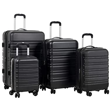 Murtisol Travel 4 Pieces Expandable ABS Luggage Sets TSA Lightweight Durable Spinner Suitcase 16  20  24  28 , 4PCS Black