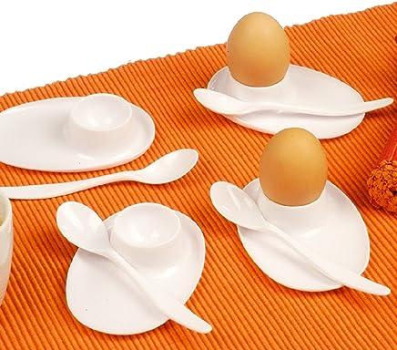 Preisvergleich für Eierbecher Set 8 - Teilig 4 x Eierbecher und 4 x Eierlöffel Weiss