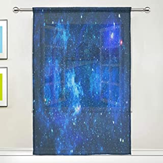 AUUXVA Window Sheer Curtain Space Galaxy Nebula Panels Drape Kitchen Living Room Decor Bedroom Office Voile Curtain 1 Piece