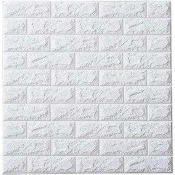 3Dウォールステッカー 壁紙シール 70cm×77cm (白レンガ / 10枚セット)