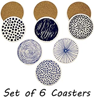 Set of 6 Acme Designs Drink- Absorbing Round Ceramic Stone Coaster With Cork Base,Tabletop Protection Mat, Suitable for All Kinds of Mugs and Cups for Home, Office and Kitchen (Ceramic)