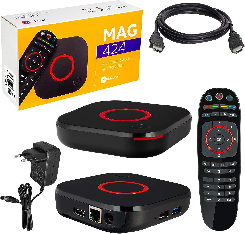 MAG 424 Decodificador de televisión, Infomir y HB-Digital original, 4K, IPTV, reproductor multimedia, televisión por internet, receptor IP, UHD 60 ...