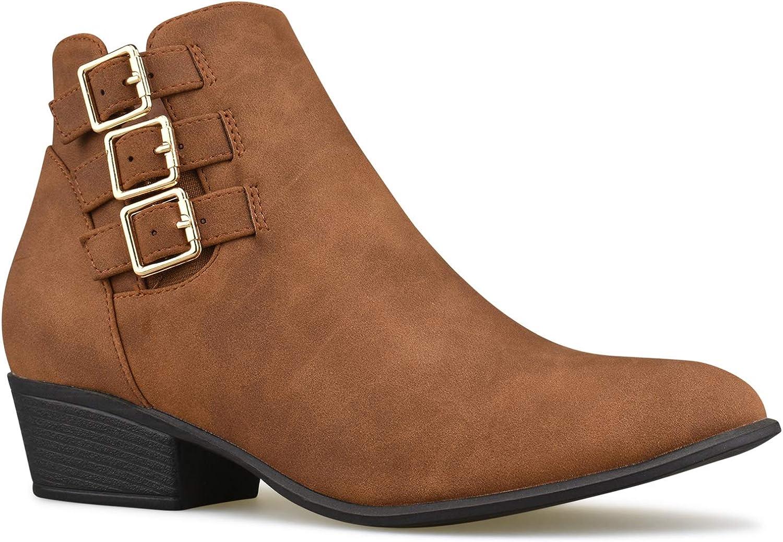 Premier Standard Women's Strappy Buckle Side Zipper Closed Toe Bootie - Low Heel Casual Comfortable Walking Boot
